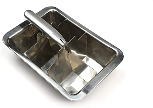 RSVP Endurance 18//8 Stainless Steel Ice Cube Tray Makes 18 Cubes Pack of 6