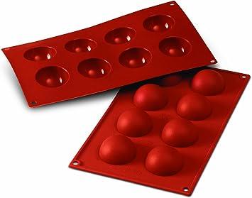 Image of SF004 Molde de Silicona, 8 cavidades con Forma de Semi Esfera, Color Terracota