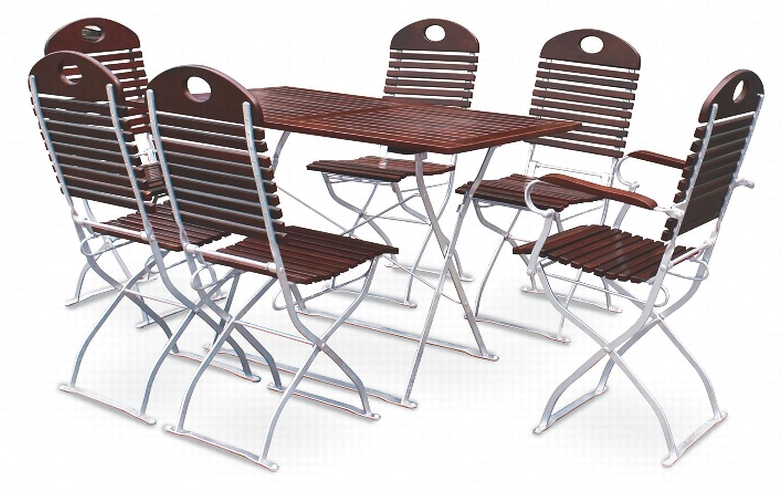 Biergartengarnitur 1x Tisch 120x70 cm & 4x Stuhl & 2x Sessel EuroLiving Edition-Exklusiv kastanie/verzinkt