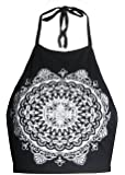 FashionMark Womens Celebrity Inspired Mandala Print Halterneck Crop Top