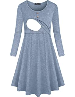 Quinee Womens Button Long Sleeve Fall Maternity Nursing Dress with Pockets