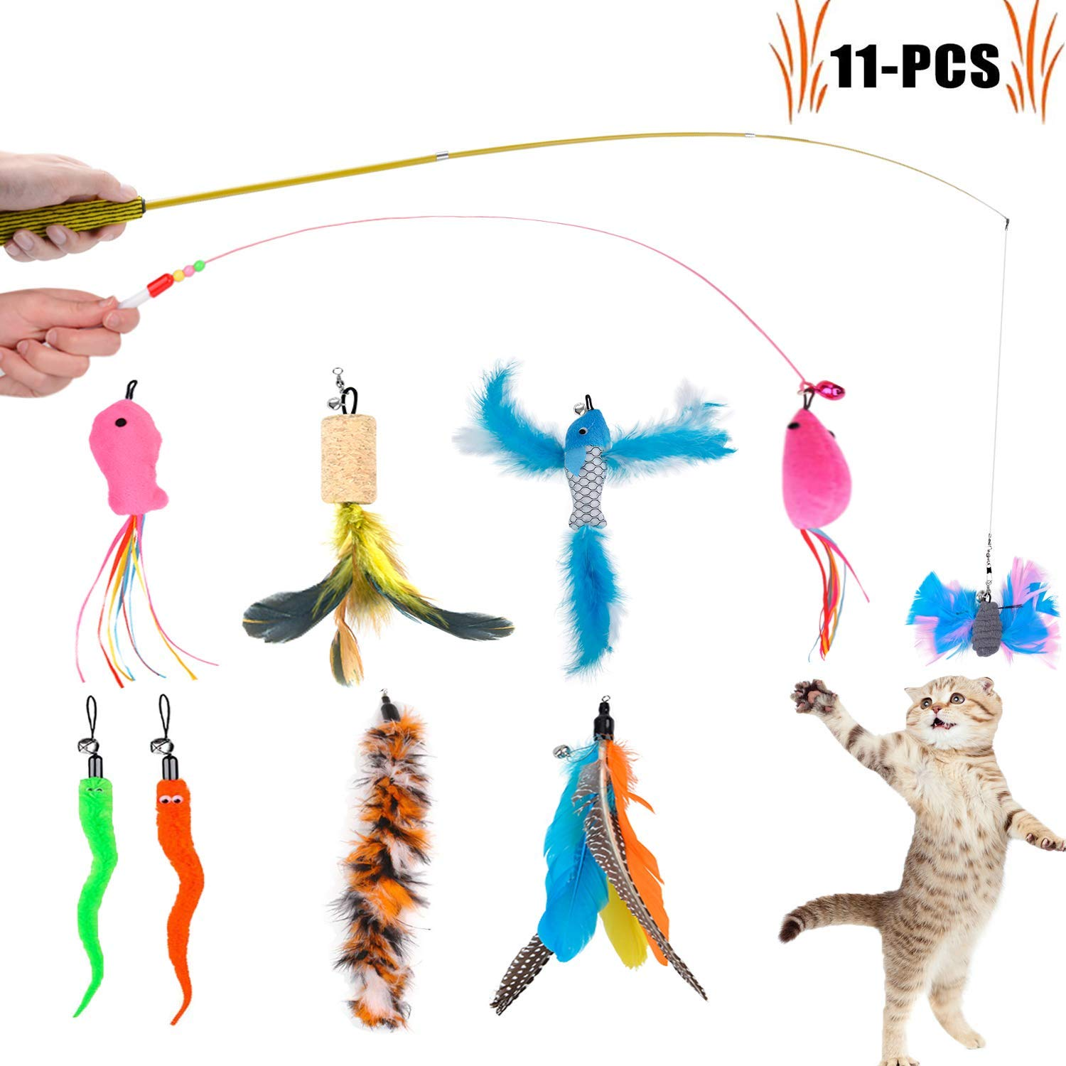 Legendog Cat Teaser Wand, Cat Wand Toy With Natural 9 Assorted Feather Teaser With Bell Refills, Interactive Cat Feather Toys For Kitten, Fun Exerciser Playing Feather Cat Toys