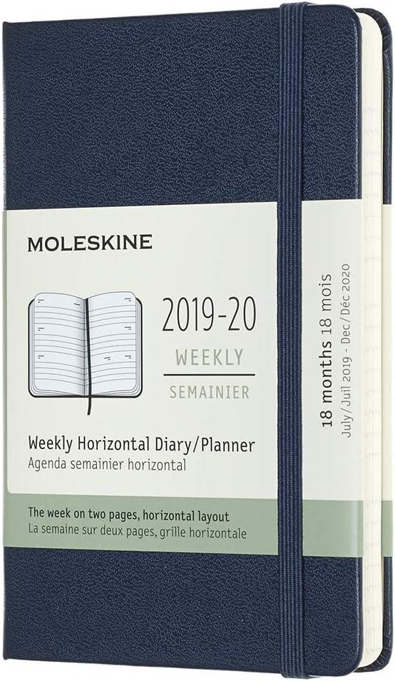 Moleskine - Agenda Semanal Horizontal de 18 Meses 2019/2020, Calendario Académico con Tapa Dura y Goma Elástica, Azul Zafiro, 9x14 cm (AGENDAS 18 MOIS)