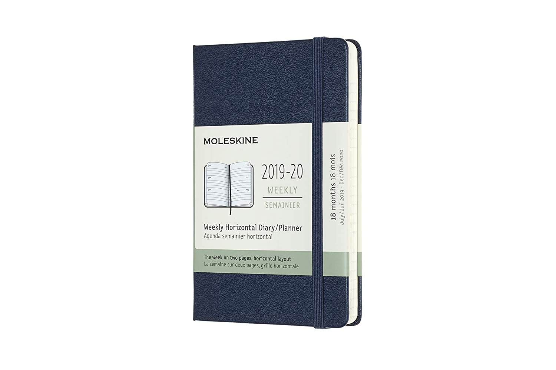 copertina rigida orizzontale Agenda settimanale 18 mesi zaffiro Pocket//A6 2019//2020 Moleskine 8058647628608