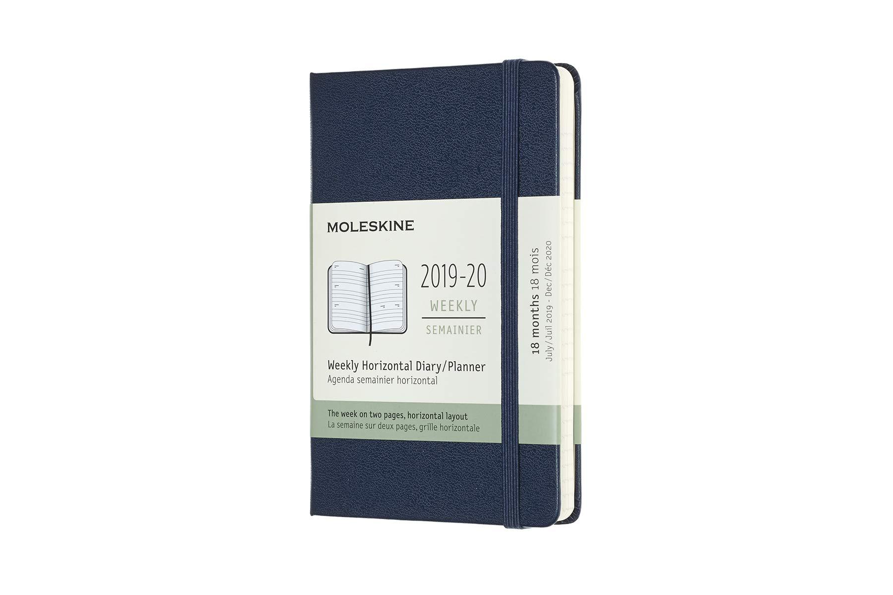 Moleskine : 2019-20 Horiz. Semana/Mes Pocket Tapa Dura Azul