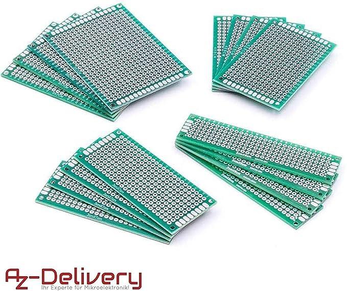 AZDelivery Set de 16 PCB Prototyping Board para Arduino con E-Book incluido