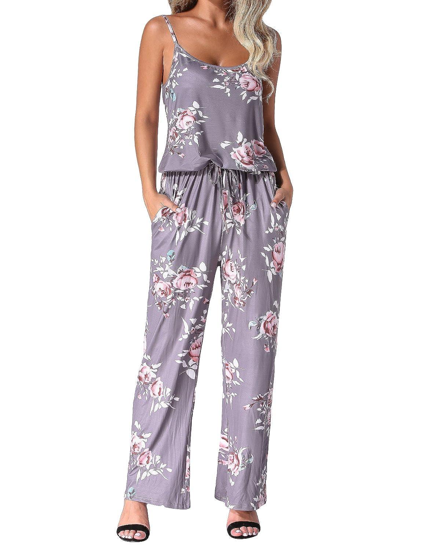 Auxo Femmes Floral Imprim/é Jumpsuit sans Manches Taille Haute Casual Combishort /Ét/é Long Pantalon Bretelles Romper