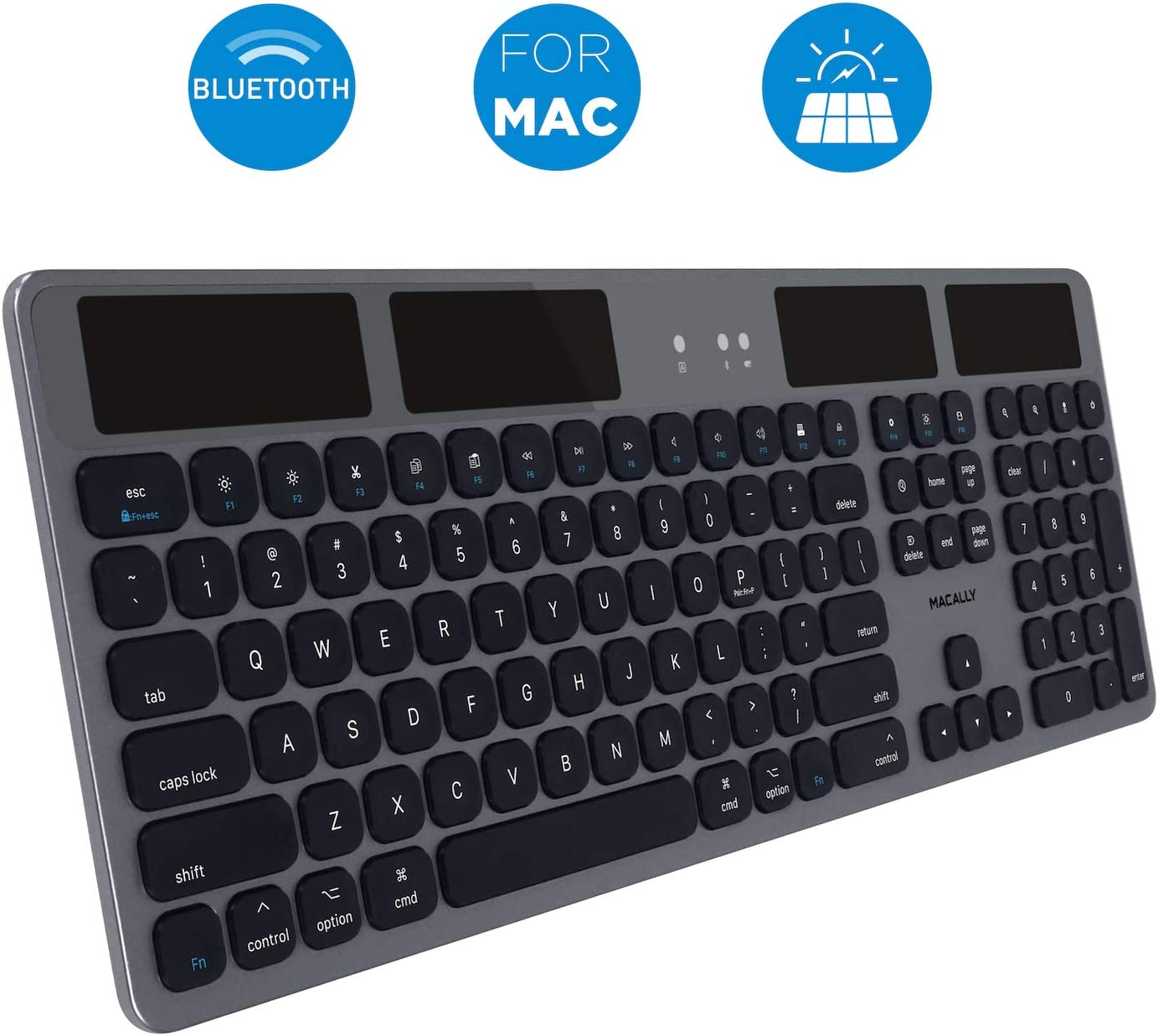 Macally Bluetooth Wireless Solar Keyboard for Mac - Rechargeable via Any Light Source (150 hr Battery Life) - Solar Powered Mac Bluetooth Keyboard with Numeric Keypad & 21 Apple Shortcuts - Space Gray