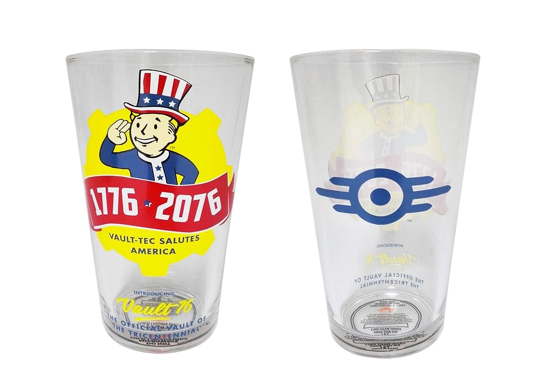Set of 1 VAULT-TEC SALUTES AMERICA clear Pint Glass 16oz Fallout Pint Glass