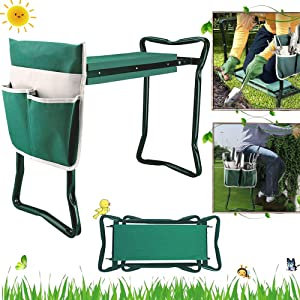 Garden Kneeler and Seat Stool Heavy Duty Garden Folding Bench with Large Tool Pocket and Soft EVA Kneeling Pad for Gardening Lovers