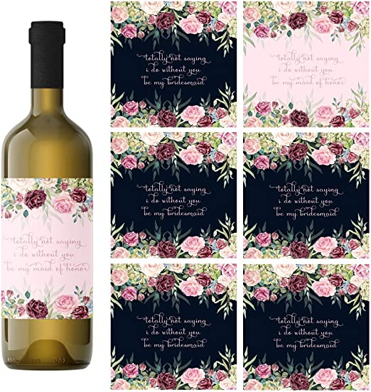 8 Bridesmaid Proposal Gifts Will You Be My Bridesmaid Maid of Honor Set of 8 Wine Bottle Labels for Bridal Party Matron of Honor Black /& White Made in USA Asking Your Girls To Be In The Wedding