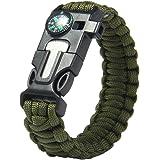 uhomey 5-in-1Survival-Armband Multifunktional outdoor-Armband Survivalausrüstung, Fallschirmseil Feuerstein, Schaber, Kompass, Pfeife