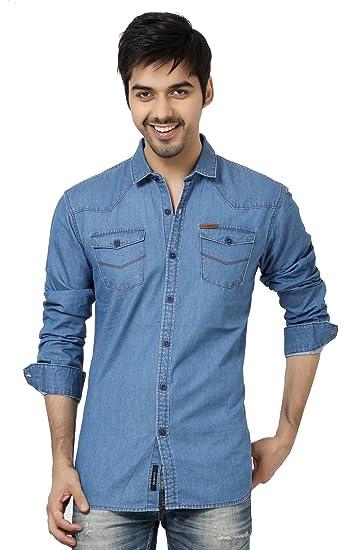 78929da7a8 LA Seven Blue Color Solid Denim Slim Fit Double Pocket Casual Shirts ...
