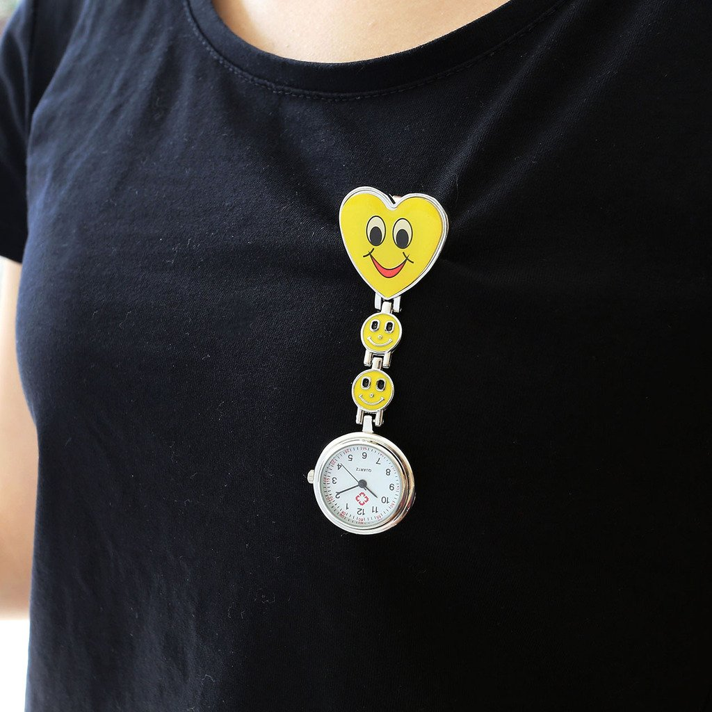 Top Plaza Pack of 5 Colorful Heart Smiling Face Nurse Fob Clip On Brooch Hanging Pocket Watches by Top Plaza (Image #3)