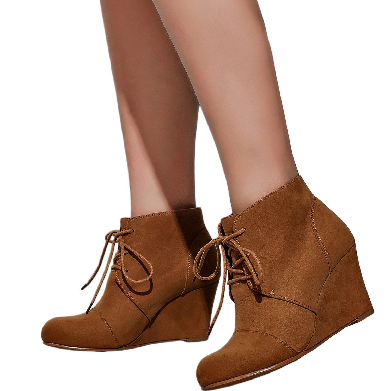 Amazon.com: Botas de cuña anchas para mujer – Botines de ...