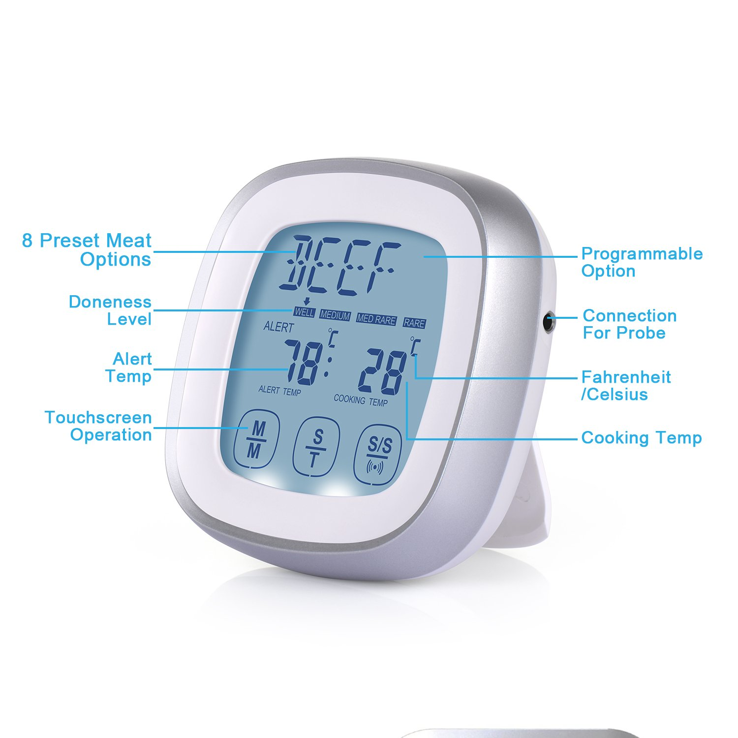 Amazon.com: Adoric Touchscreen Digital Meat Thermometer with Timer ...