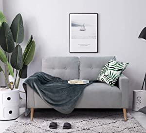 Homall Mid-Century Loveseat Couch,Upholstered Living Room Button Tufted 2 Seater Sofa, Tool-Free Assembly, Gray