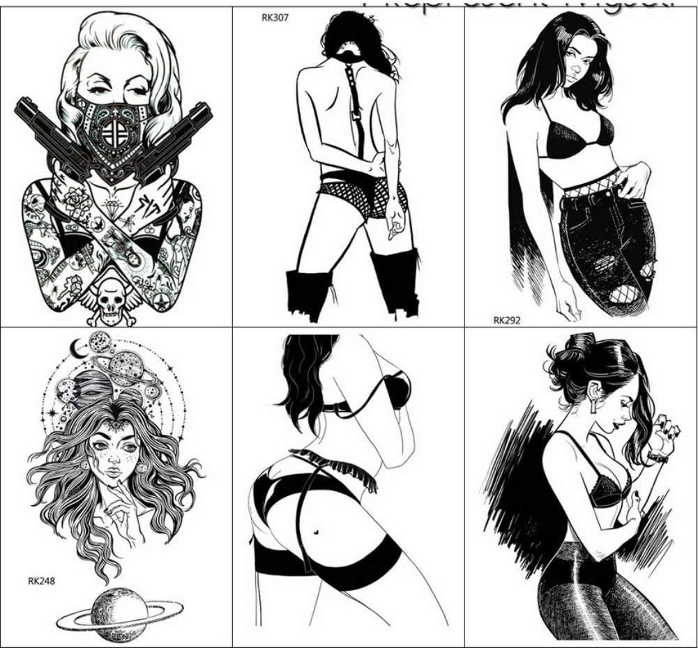 Yyydl Temporary Waterproof Tattoo Stickerblack Adults Tattoo Stickers Women Body Art Drawing Temporary Tattoo Punk Girls Love Waterproof Tatoos Self Adhesive 10 5 6cm 6pcs Amazon Co Uk Beauty