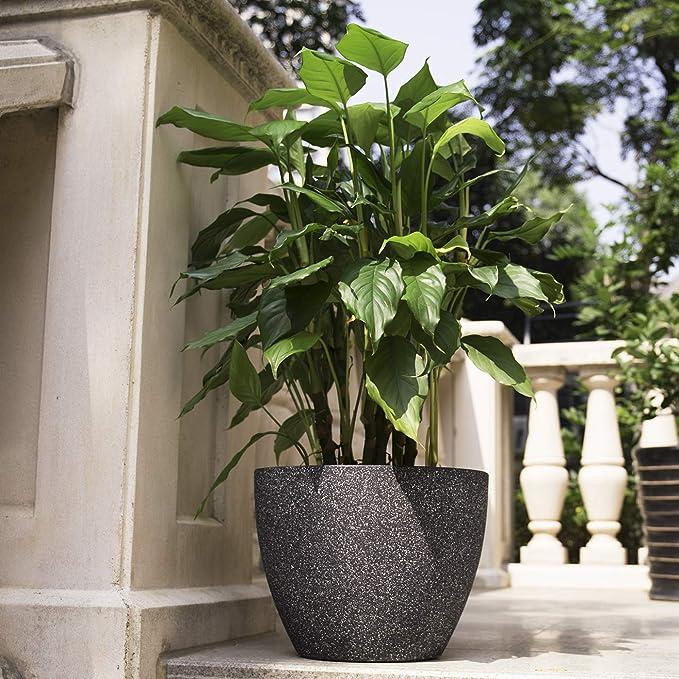 Jardini/ère noire en plastique avec effet granit Bac /à fleur grande taille d/écoratif et robuste Pot de plante design Pot de fleur ext/érieur greemotion Grand pot de fleur carr/é Lea 39x39 cm