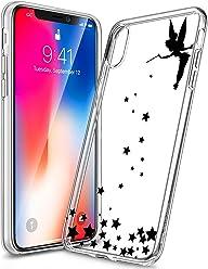 Girlscases® | iPhone XS Hülle, iPhone X / 10 Hülle | Im Fee Motiv Muster | in schwarz | Fashion Case Transparente Schutzhülle aus Silikon