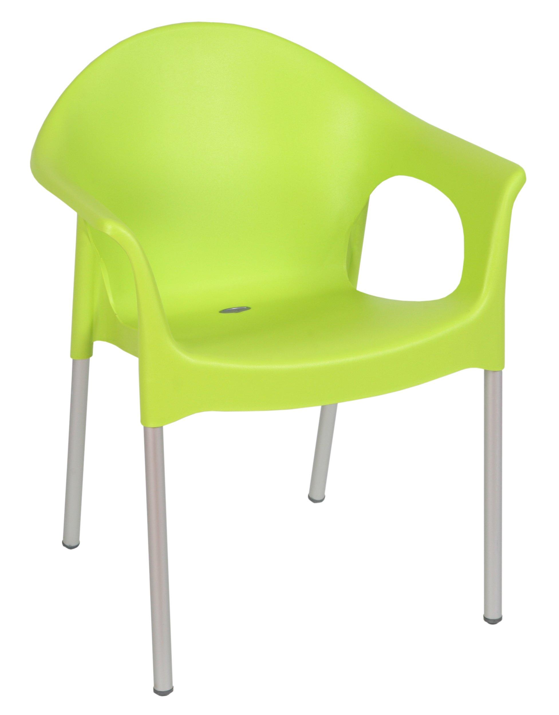 Tensai Lisa Collection Rounded Back Durable Plastic Chair - Lemon