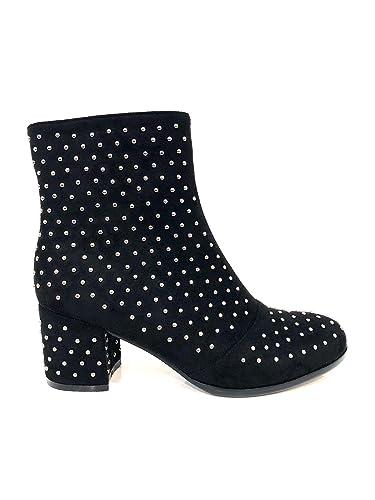 Zapatos Ultra Studs Boots Botines Negros para Mujer tacón Medio con Elegantes Tachuelas de Ante Black Elegant Woman Shoes Medium Heel Ceremony Eco Suede ...
