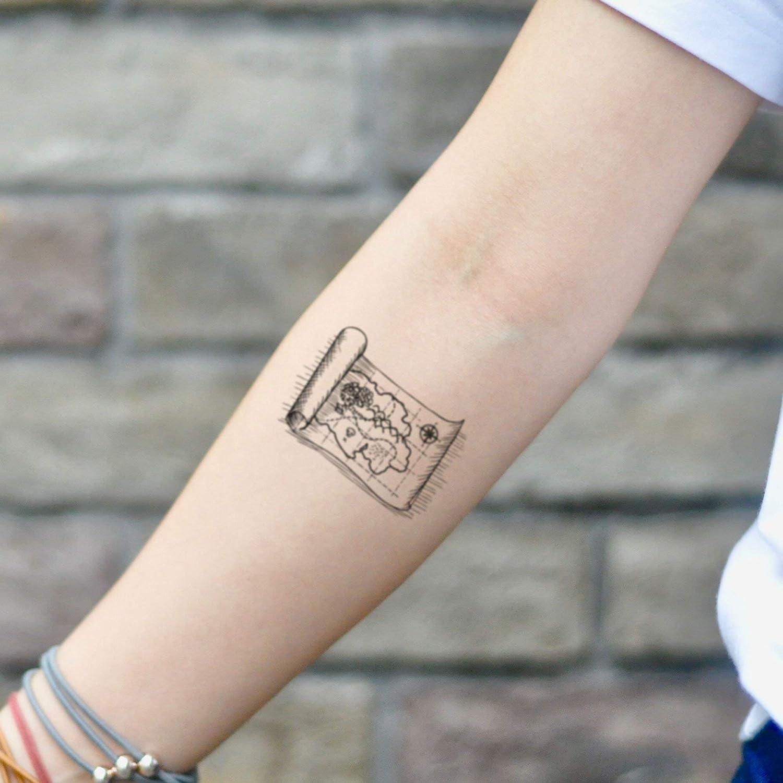 Tatuaje Temporal de Mapa del tesoro (2 Piezas) - www.ohmytat.com ...