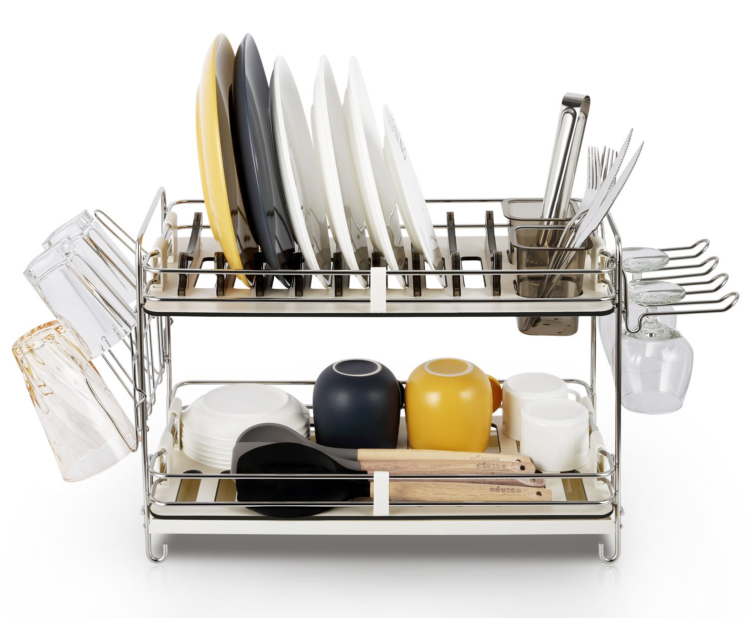 3 advantages of having dish drying rack. Amazon.com: Miusco 2 Tier Stainless Steel Dish Rack With Wine Glass Holder And Drainboard: Kitchen \u0026 Dining 3 Advantages Of Having Drying H