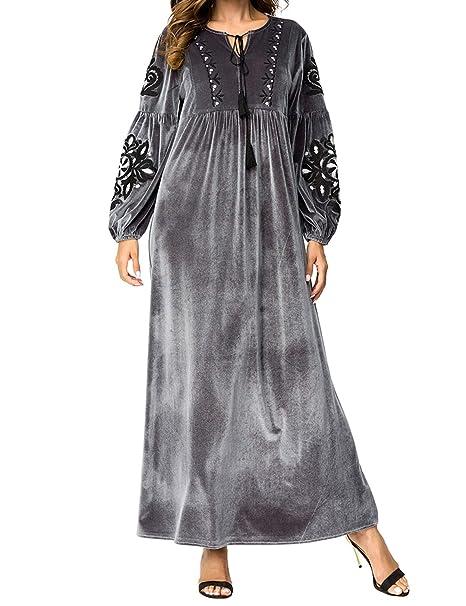 Inverno Ricamo Lunga Maxi Dress-Islamico Musulmano Donne Casuale Abiti  Vestito Lungo Ramadan Preghiera Costume 55514535b93