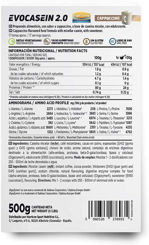 Caseína Micelar de HSN Evocasein 2.0 | Proteína para Antes de Dormir, Liberación Lenta de Aminoácidos durante la Noche | Vegetariana, Sin Gluten, ...