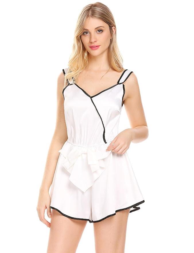 1927a558053 Amazon.com  Bulges Women Satin Romper Sleepwear One-Piece Cami Nightwear  Chemise Short Backless Pajamas  Clothing