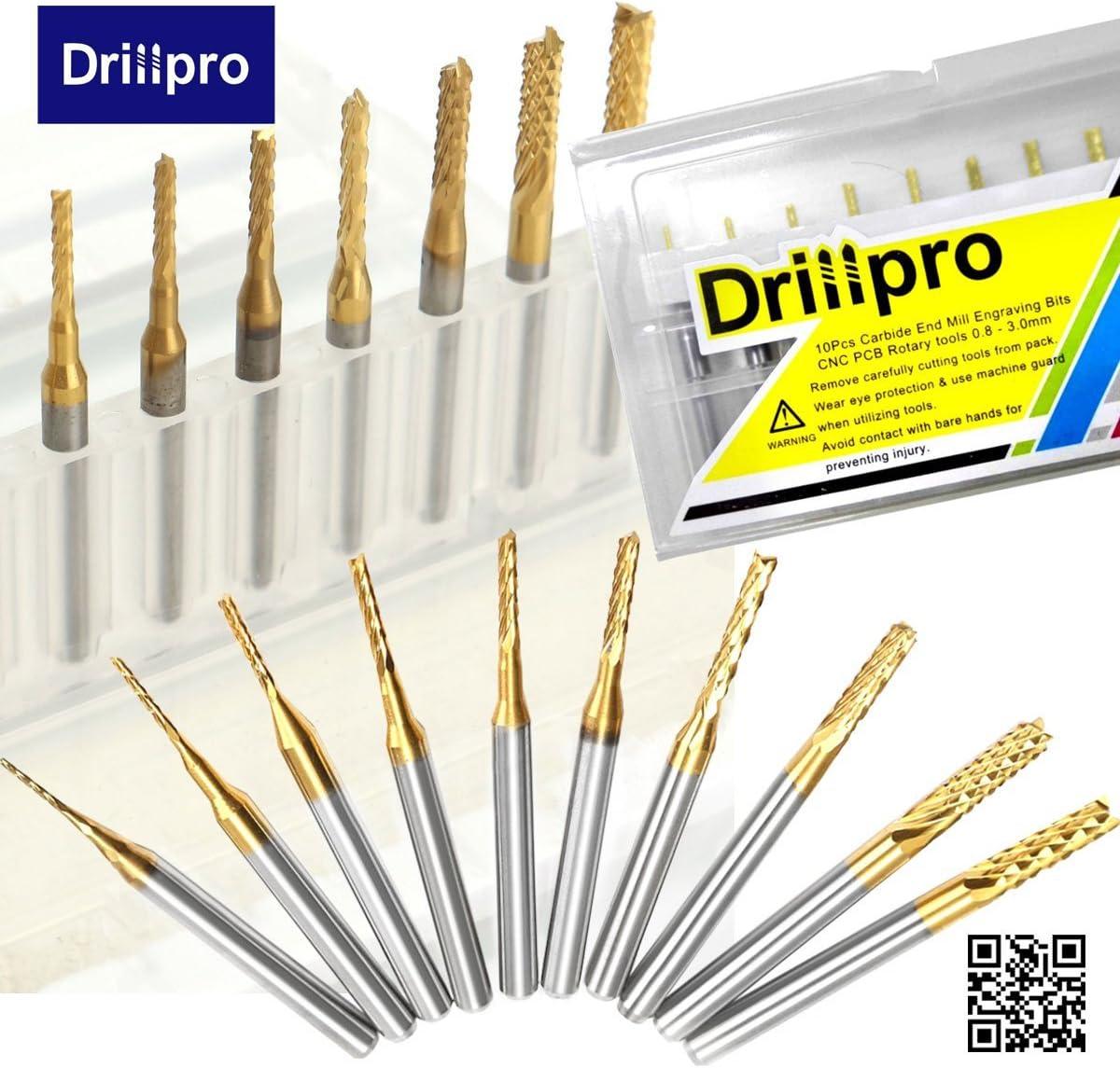 10x 1//8/'/' 0.8-3.175mm PCB Drill Bit Set Engraving Cutter Rotary CNC End MillODHH