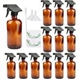 16oz Amber Glass Spray Bottles,Adjustable Sprayers & Chalk Labels, with caps for Essential Oils, Cleaning Products, or Aromat