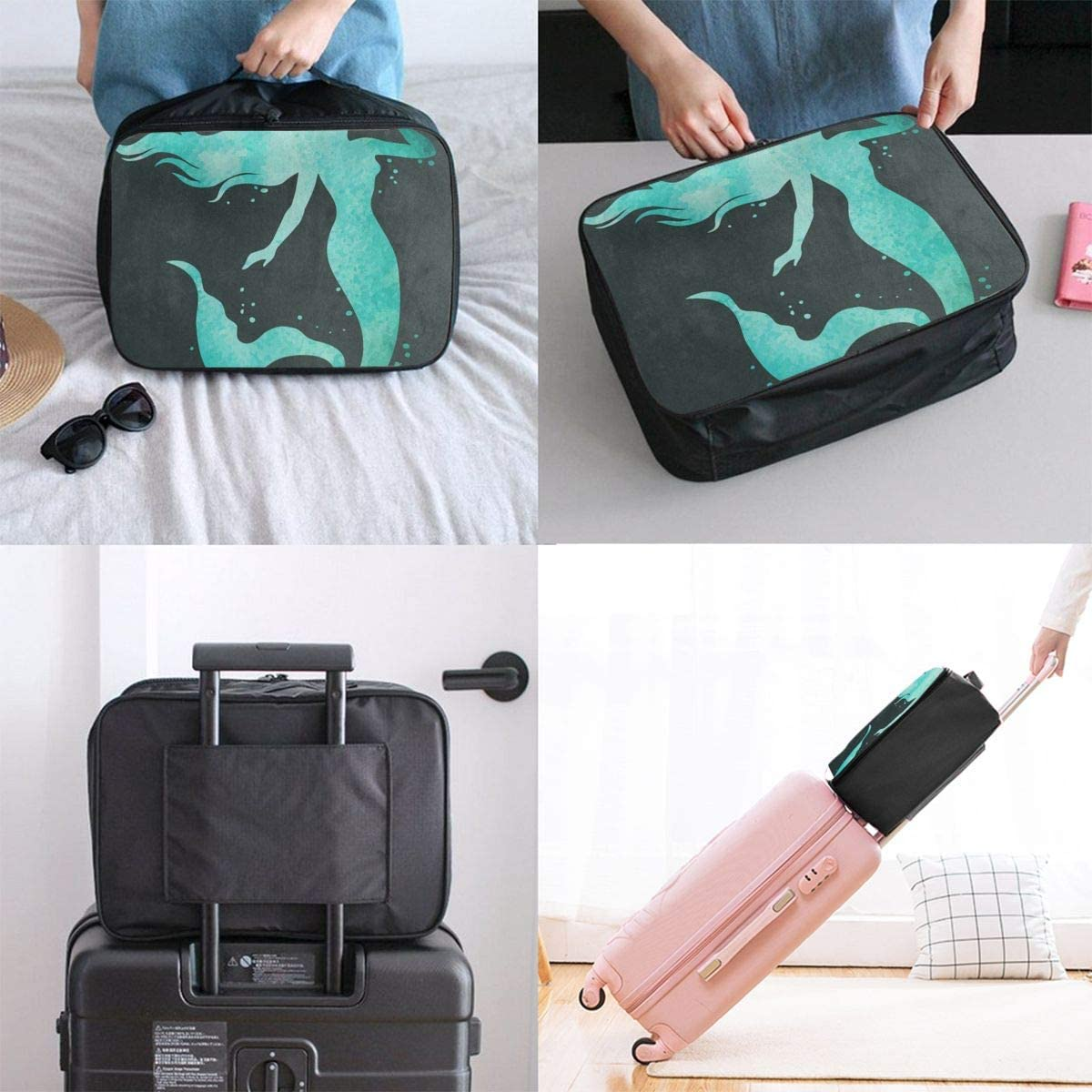 Travel Bags Watercolor Mermaid Fish Portable Duffel Vintage Trolley Handle Luggage Bag