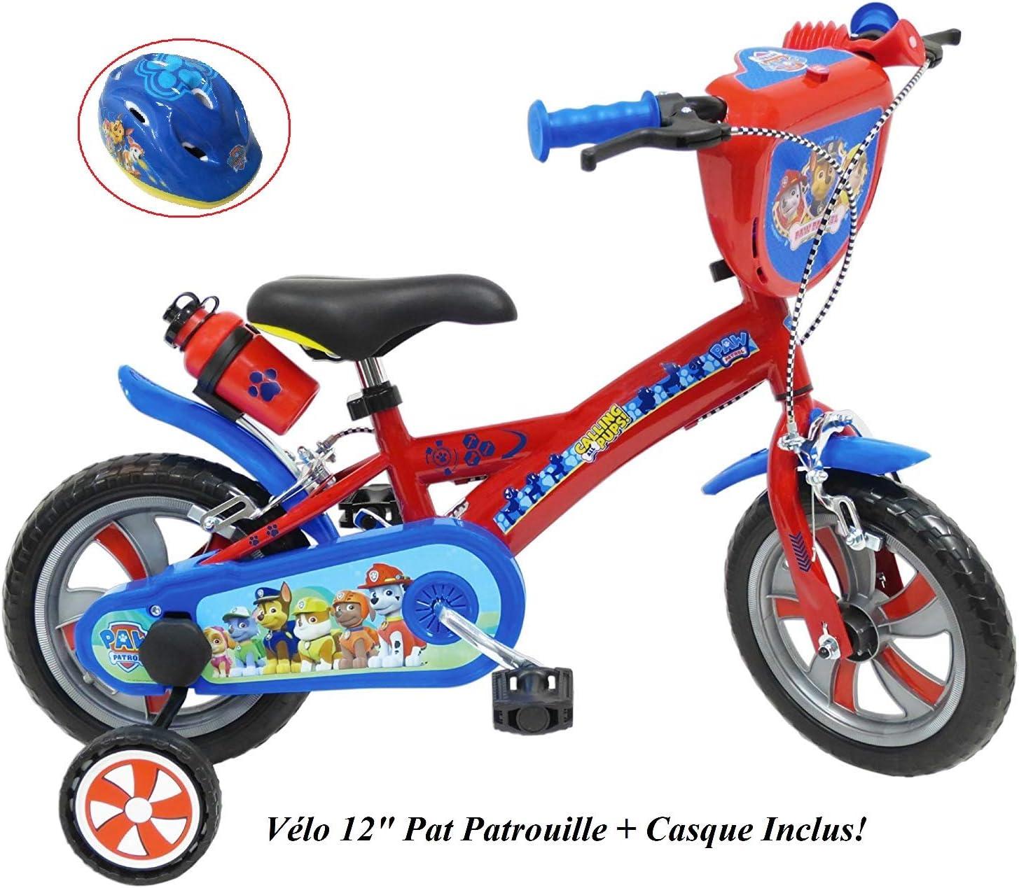 Bicicleta de 12 Pulgadas con diseño de la Patrulla Canina, 2 Frenos PB+BIDON AR + Casco Infantil, Multicolor