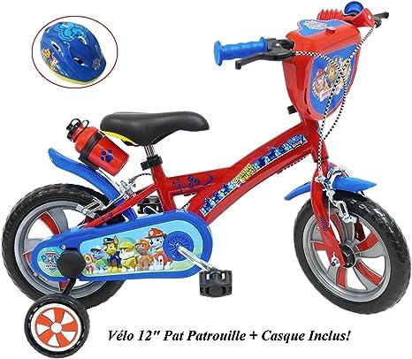 Bicicleta para niño de 12 Pulgadas con Pat Patrol con 2 Frenos PB+BIDON AR + Casco Infantil, Multicolor: Amazon.es: Deportes y aire libre