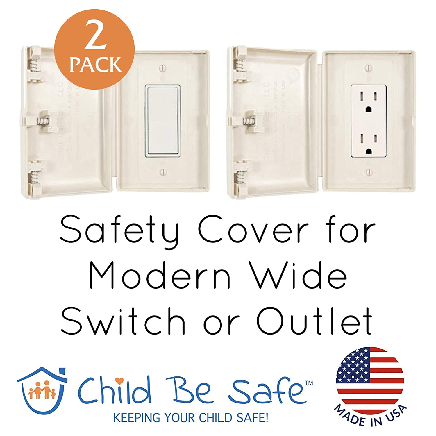 Set of 2 Baby and Toddler Resistant Electrical Safety Cover Guard for Home and Business Almond Child Be Safe Modern Wide Light Switch and Outlet