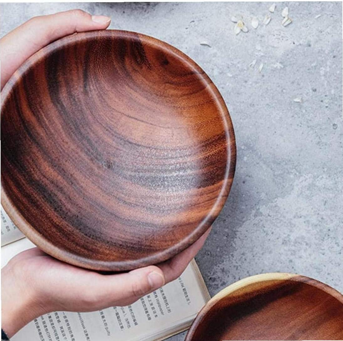 Angoter Natural Hand-Made Wooden Salad Bowl Classic Large Round Acacia Wood Salad Soup Dining Bowl Plates Premium Wood Kitchen Utensils