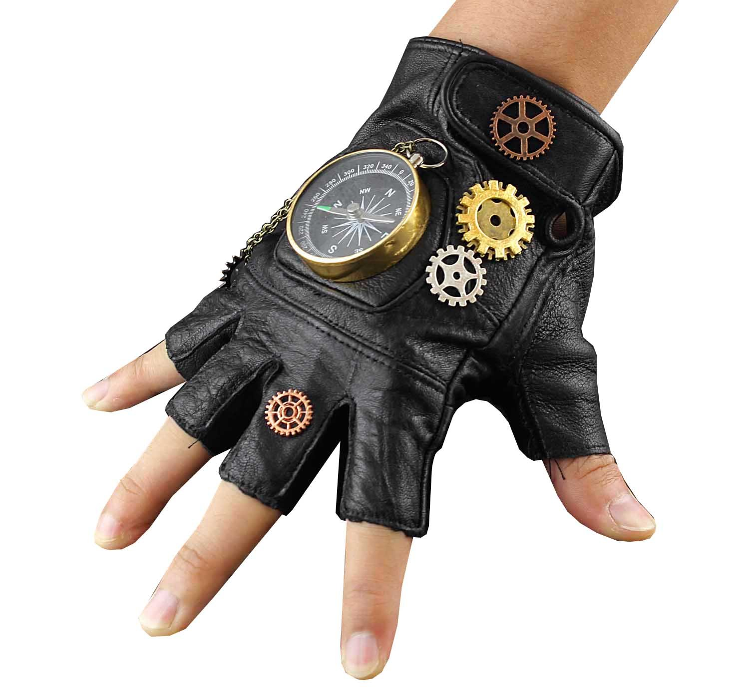 Steampunk Cosplay Compass Gears Fingerless Real Leather Gloves Men/womens 4