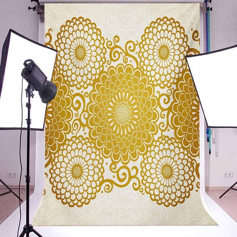 10x12 FT Photo Backdrops,Border with Large Flowers and Curls Chrysanthemums Peonies Rococo Style Background for Baby Shower Bridal Wedding Studio Photography Pictures Eggshell Earth Yellow