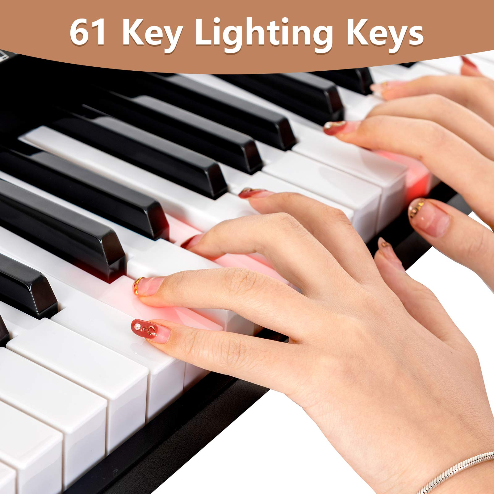 LAGRIMA 61 Key Electric Keyboard Piano w/Light Up Keys for Beginner, Lighted Portable Keyboard w/Music Player Function, Micphone, Power Supply, Music Stand, Black by LAGRIMA (Image #4)