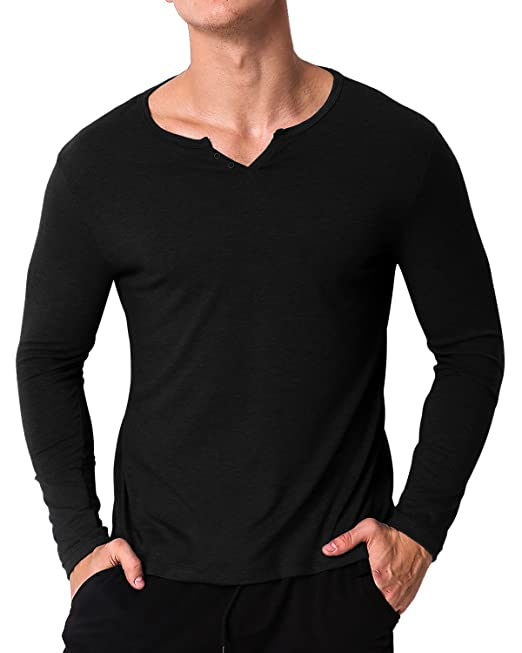 189e543e6 MODCHOK Men's Long-Sleeved V-Neck T-Shirt Basic Cotton Plain - Black - XL:  Amazon.co.uk: Clothing