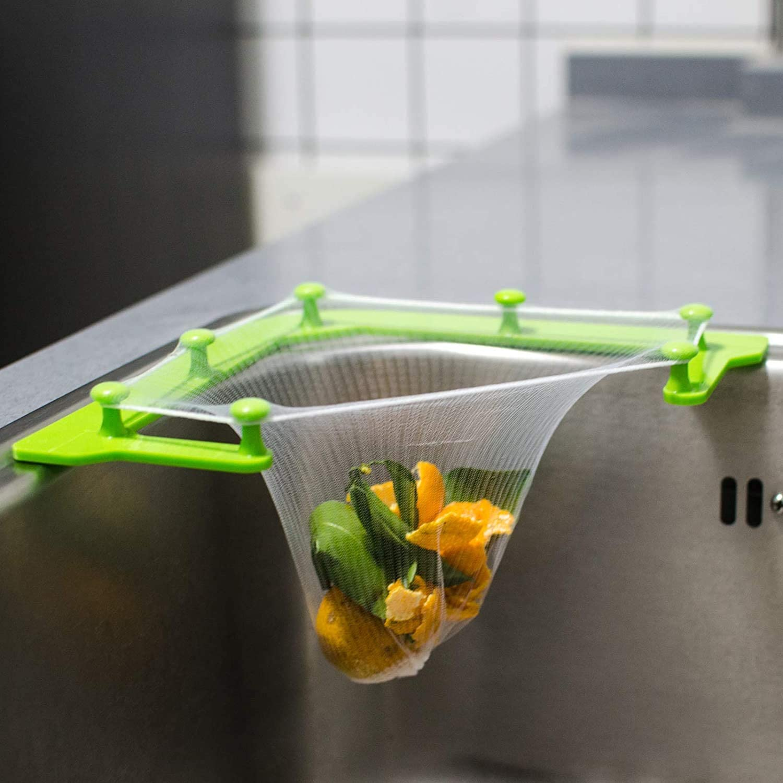 Noozuo Kitchen Sink Strainer Net Triangular Holder Basket Leftovers Filter Disposable Garbage Mesh Bags