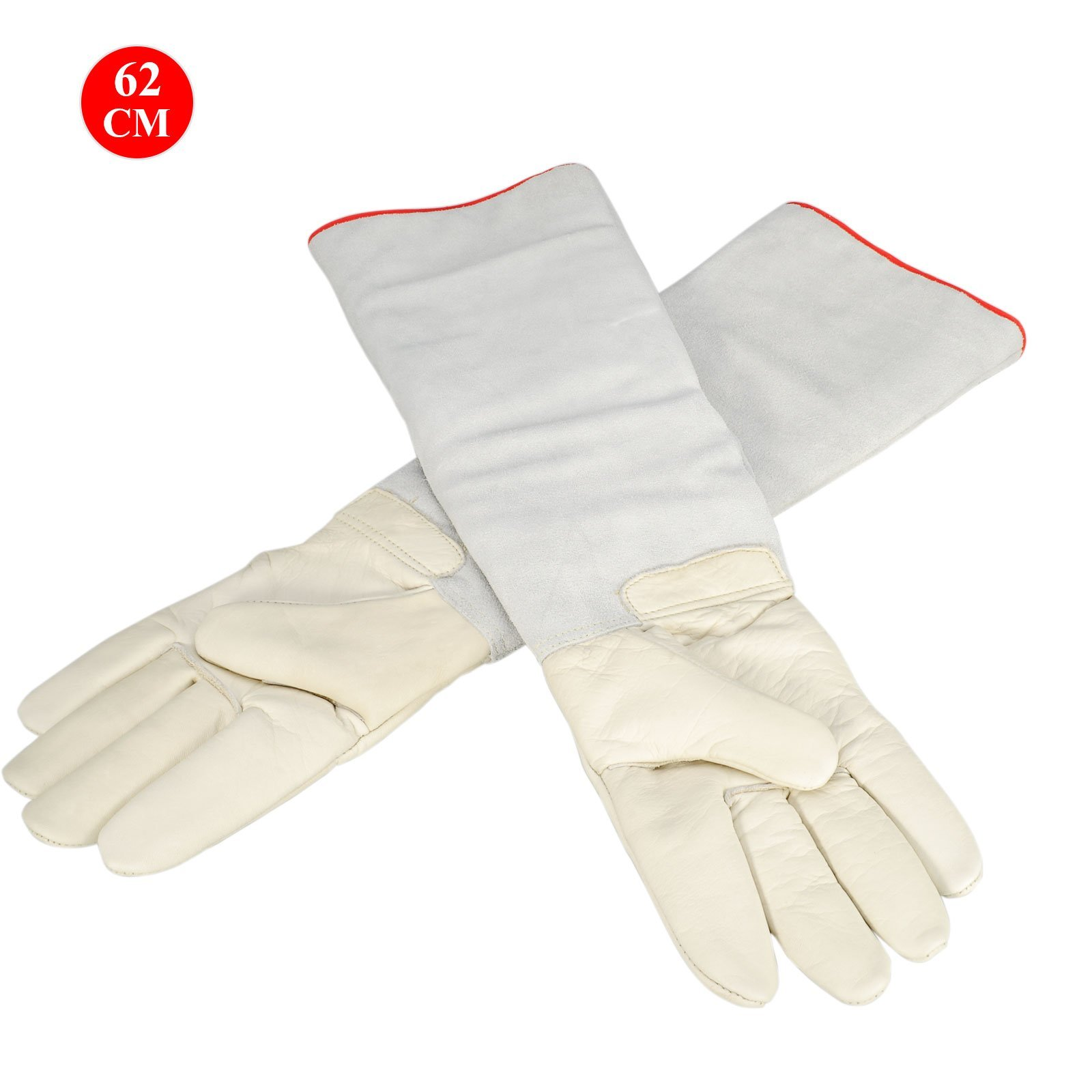 OFTEN Ultra Long Cryogenic Gloves Waterproof Protective Gloves Liquid Nitrogen Frozen Gloves Cold Storage,White,24.41''