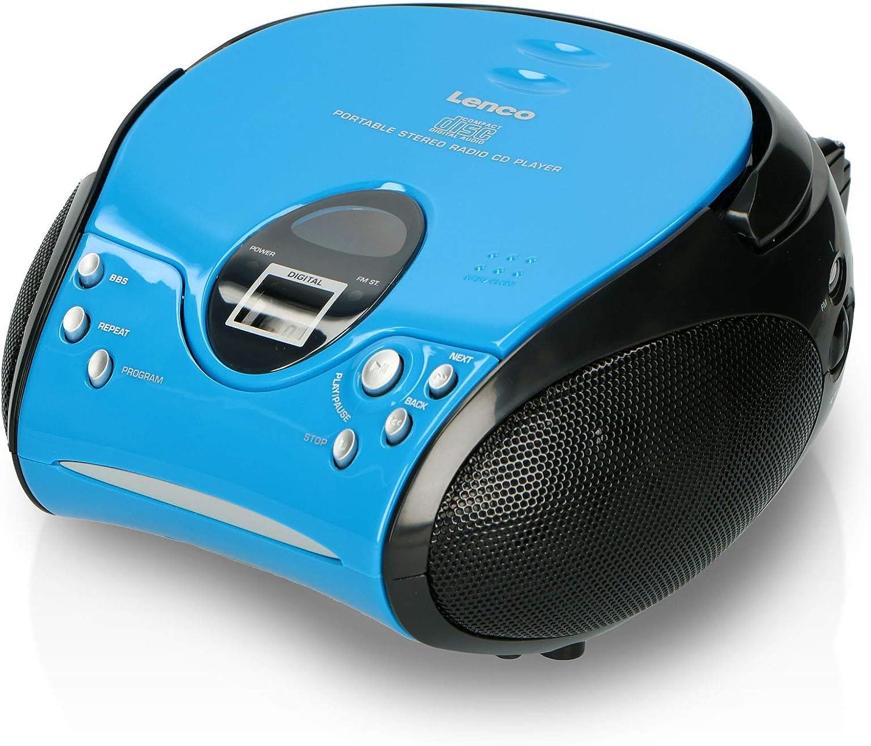 Lenco Scd24 Cd Player Für Kinder Cd Radio Stereoanlage Boombox Ukw Radiotuner Titel Speicher 2 X 1 5 W Rms Leistung Netz Und Batteriebetrieb Blau Heimkino Tv Video