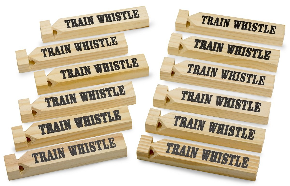 "12 Pack Wooden Train Whistles, 5.75"" – Printed On A Locomotive And Words TRAIN WHISTLE and CHOO CHOO! - For Kids Of All Ages, Great Party Favor - By Kidsco Kayco USA"