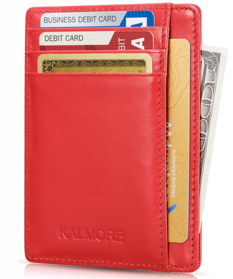 Credit Card Holder Genuine Leather Slim Thin Pocket Wallet Minimalist Wallet Money Clip RFID Blocking by KALMORE