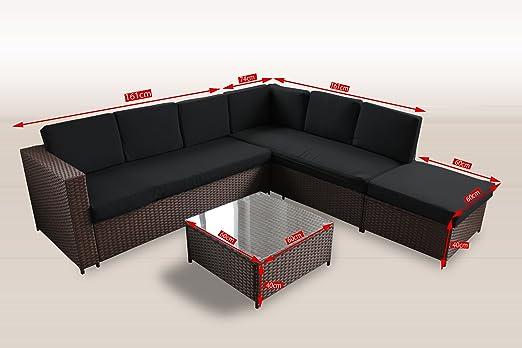 Muebles de jardín de polirratán de 235 x 221 cm con vidrio y ...