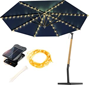 VOOKRY Solar Umbrella Lights Outdoor Waterproof, Patio Umbrella Lights Solar Powered 8 Modes for Beach Tent Camping Garden Party Decoration(Warm White)