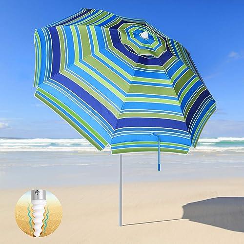 SANSUNTEK Beach Umbrella,Patio Beach Umbrella with Sand Anchor and Tilt Aluminum Pole, 6.5FT Outdoor Windproof Portable UV Protection Beach Umbrella for Sand with Carry Bag for Garden Beach